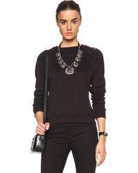 Saint Laurent Slashed Sleeve Sweatshirt - Lyst