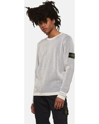 Stone Island - Double Cotton Knit Jumper - Lyst