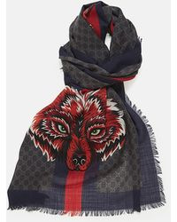 a3fb8608a Gucci Stole Wolf in Black for Men - Lyst