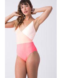 Triya - Wrap One Piece Swimsuit - Peach - Lyst