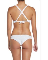 Pilyq - Basic Ruched Teeny Bikini Bottom - Monroe White - Lyst