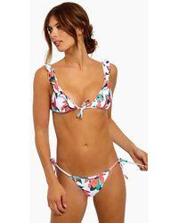 ViX Ruffle Front Tie Triangle Bikini Top - Bluebell Floral Print - Multicolour