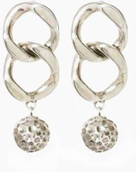 Luv Aj - The Chain Link Hammered Ball Earrings - Silver - Lyst