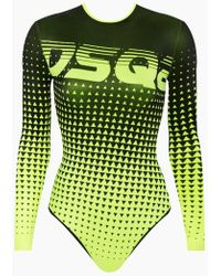 DSquared² Ombre Dotted Long Sleeve One Piece Swimsuit - Neon Yellow/black