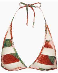 8ecfd0442b Adriana Degreas - Long Triangle Bikini Top - Fiore Rose Stripe Print - Lyst