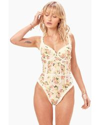 cd394c8267860 For Love & Lemons - Charleston Ruffle Corset One Piece Swimsuit -  Buttercreme Yellow Floral Print