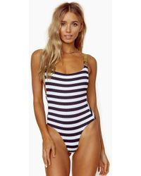 Blue Life - Buckled Overall One Piece Swimsuit - Stripe - Lyst