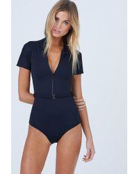 Aila Blue - Pierce Short Sleeves One Piece Swimsuit - Black Waffle - Lyst