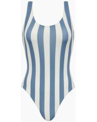 Solid & Striped The Anne-marie Classic One Piece Swimsuit - Blue Ice Stripe Print