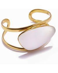 Lena Bernard - Naeva Selenite Gold Cuff Bracelet - Lyst