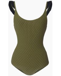 4a967f4151 Made By Dawn - Petal Ruffle Cap Sleeves One Piece Swimsuit - Olive Lattice  - Lyst