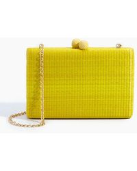 Serpui - Beth Straw Rectangle Clutch - Yellow - Lyst