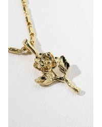 Vanessa Mooney - The Gold Little Rose Charm Necklace - Gold - Lyst