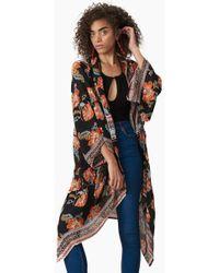 Patrons Of Peace - Scarf Print Kimono - Black - Lyst