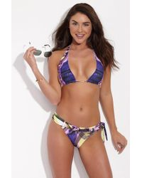 LOOK Z - Violet Chain Halter Bikini Top - Violet/yellow Abstract Print - Lyst