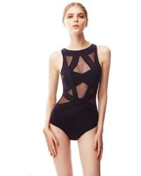 OYE Swimwear - Esther Sheer Cut Out One Piece Swimsuit - Black - Lyst