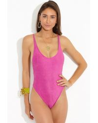 dbrie - The Daxi Reversible Faux Suede One Piece Swimsuit - Orchid - Lyst