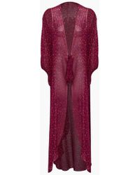 Adriana Degreas - Silk Georgette Long Robe Cover-up - Pomegranate Pink Print - Lyst