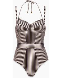Marlies Dekkers - Holi Vintage Unwired Padded One Piece Swimsuit (curves)- Blue Ecru - Lyst