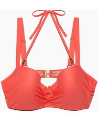 Marlies Dekkers - La Flor Wired Padded Plunge Balcony Bikini Top (curves) - Salmon - Lyst