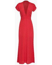Flynn Skye - Valentina Short Sleeve Maxi Dress - Red Cherry Dots Print - Lyst