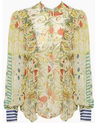 Hemant & Nandita - Crinkle Chiffon Ruffle Blouse Shirt - Odyssey Floral Print - Lyst