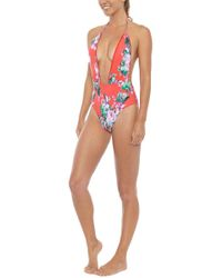Montce Swim - Private Beach Plunging V One Piece - Red Floral Print - Lyst