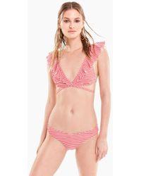 Wildfox - Susie Ruffle Wrap Bikini Top - Red/white Micro Stripe Print - Lyst