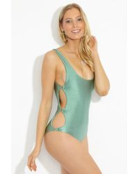 Amuse Society - Estelle Side Cut Outs One Piece - Sage - Lyst