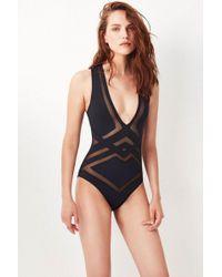 OYE Swimwear - Bane Mesh Cut Out One Piece Swimsuit - Black - Lyst
