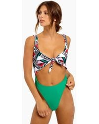 Lee + Lani - Deco High Hip Tie Front One Piece - Deco/cool Green - Lyst