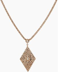 Luv Aj - The Hammered Triangle Charm Necklace - Rose Gold - Lyst