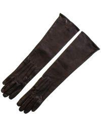 Black.co.uk - Long Black Leather Gloves - Silk Lined - Lyst