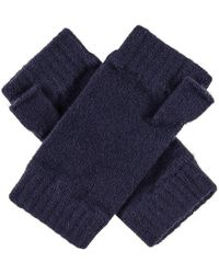 Black.co.uk - Ladies' Navy Blue Cashmere Fingerless Mittens - Lyst