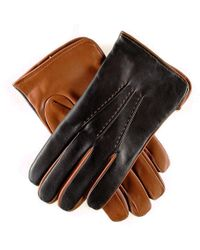 Black.co.uk - Men's Black And Tobacco Italian Leather Gloves - Cashmere Lined - Lyst