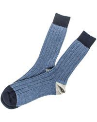 Black.co.uk - Men's Denim Blue, Navy And Grey Cashmere Socks - Lyst
