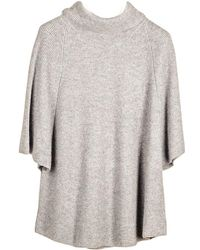 Black.co.uk - Grey Roll Neck Cashmere Sleeved Poncho - Lyst