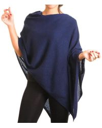 Black.co.uk - Midnight Navy Blue Knitted Cashmere Poncho - Lyst