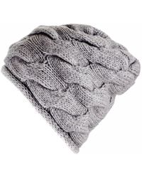 Black.co.uk - Grey Chunky Cable Knit Cashmere Beanie - Lyst