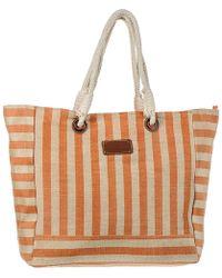 Black.co.uk - Agonda Orange Striped Hessian Beach Bag - Lyst