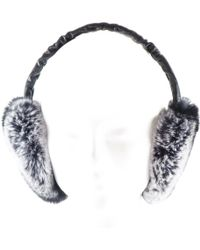 Black.co.uk - Black Leather And Silver Grey Rabbit Fur Earmuffs - Lyst