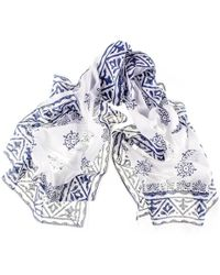Black.co.uk - Navy And White Hand Printed Cotton Scarf - Lyst