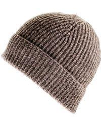 Black.co.uk - Brown Cashmere Beanie Hat - Lyst