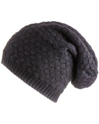 Black.co.uk - Black Basketweave Cashmere Slouch Beanie - Lyst