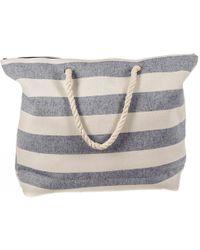 Black.co.uk - Denim And White Striped Beach Bag - Lyst