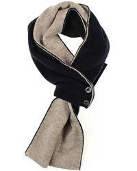 Black.co.uk - Navy And Latte Cashmere Cravat Scarf - Lyst