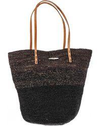 Black.co.uk - Kyrenia Black And Brown Raffia Beach Bag - Lyst
