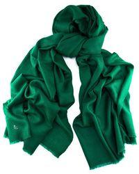 Black.co.uk - Emerald Green Handwoven Cashmere Shawl - Lyst