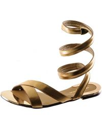 Black.co.uk - Metallic Gold Leather Gladiator Sandals - Lyst