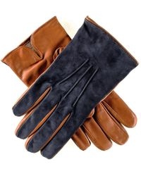 Black.co.uk - Men's Navy Suede And Tan Leather Gloves-cashmere Lined - Lyst